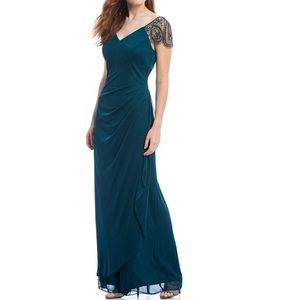 V-Neck Ruched Back Beaded Asymmetrical Gown- 4
